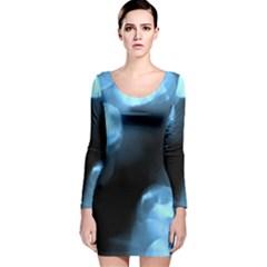 Blue Circles Long Sleeve Velvet Bodycon Dress