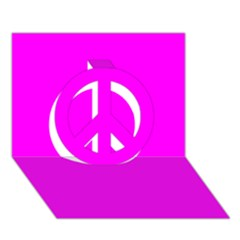 Trendy Purple  Peace Sign 3d Greeting Card (7x5)