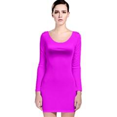Trendy Purple  Long Sleeve Velvet Bodycon Dress