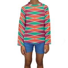 Distorted rhombus pattern  Kid s Long Sleeve Swimwear