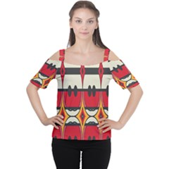 Rhombus ovals and stripes Women s Cutout Shoulder Tee