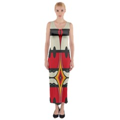 Rhombus ovals and stripes Fitted Maxi Dress