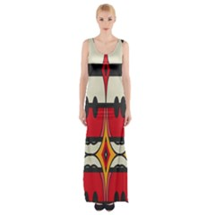 Rhombus ovals and stripes Maxi Thigh Split Dress
