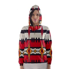 Rhombus Ovals And Stripes Hooded Wind Breaker (women)