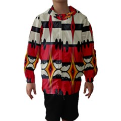 Rhombus ovals and stripes Hooded Wind Breaker (Kids)