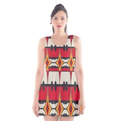 Rhombus ovals and stripes Scoop Neck Skater Dress