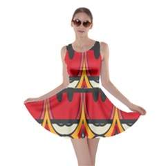 Rhombus Ovals And Stripes Skater Dress