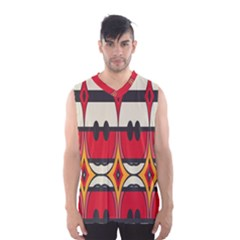 Rhombus ovals and stripes Men s Basketball Tank Top