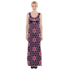 Flowers And Honeycomb Pattern Maxi Thigh Split Dress