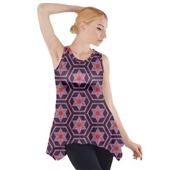 Flowers And Honeycomb Pattern Side Drop Tank Tunic