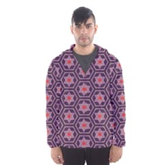 Flowers And Honeycomb Pattern Mesh Lined Wind Breaker (men)