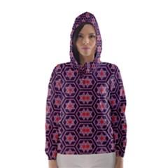 Flowers And Honeycomb Pattern Hooded Wind Breaker (women)