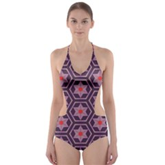 Flowers and honeycomb pattern Cut-Out One Piece Swimsuit