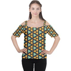 Green triangles and other shapes pattern Women s Cutout Shoulder Tee