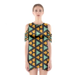 Green Triangles And Other Shapes Pattern Women s Cutout Shoulder Dress