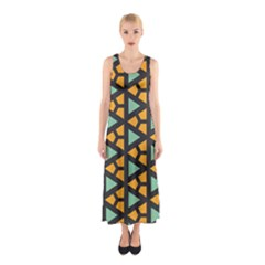 Green Triangles And Other Shapes Pattern Full Print Maxi Dress