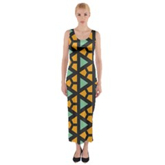 Green triangles and other shapes pattern Fitted Maxi Dress