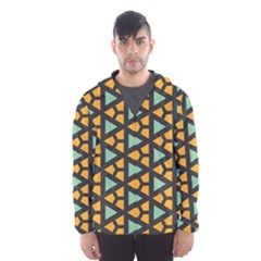 Green triangles and other shapes pattern Mesh Lined Wind Breaker (Men)