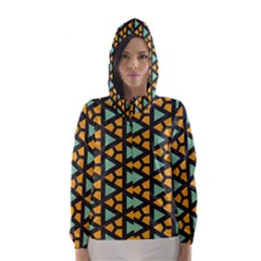 Green Triangles And Other Shapes Pattern Hooded Wind Breaker (women)