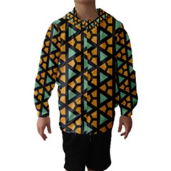 Green triangles and other shapes pattern Hooded Wind Breaker (Kids)
