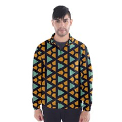 Green Triangles And Other Shapes Pattern Wind Breaker (men)