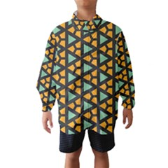 Green triangles and other shapes pattern Wind Breaker (Kids)