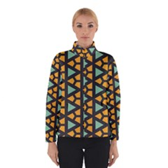 Green triangles and other shapes pattern Winter Jacket