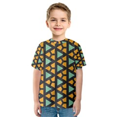 Green triangles and other shapes pattern Kid s Sport Mesh Tee