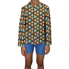 Green triangles and other shapes pattern  Kid s Long Sleeve Swimwear