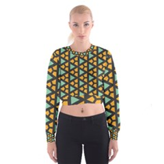 Green Triangles And Other Shapes Pattern   Women s Cropped Sweatshirt