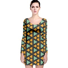 Green triangles and other shapes pattern Long Sleeve Velvet Bodycon Dress