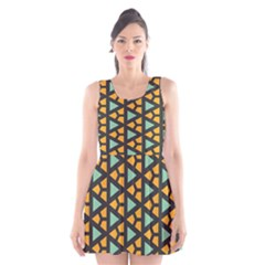 Green triangles and other shapes pattern Scoop Neck Skater Dress