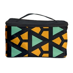 Green Triangles And Other Shapes Pattern Cosmetic Storage Case