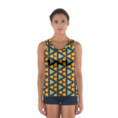 Green triangles and other shapes pattern Women s Sport Tank Top