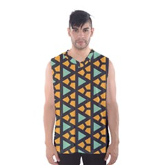 Green triangles and other shapes pattern Men s Basketball Tank Top