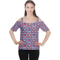 3d squares Women s Cutout Shoulder Tee