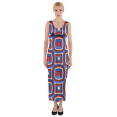 3d Squares Fitted Maxi Dress