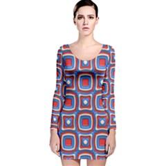3d squares Long Sleeve Velvet Bodycon Dress