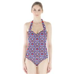 3d Squares Women s Halter One Piece Swimsuit