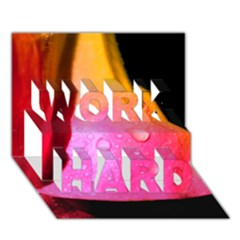 Pink Angel Work Hard 3d Greeting Card (7x5)