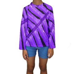 Purple Fern Kid s Long Sleeve Swimwear