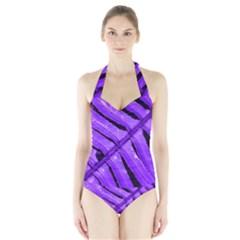 Purple Fern Women s Halter One Piece Swimsuit