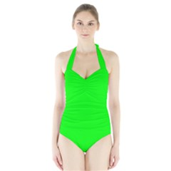 Cool Green Women s Halter One Piece Swimsuit