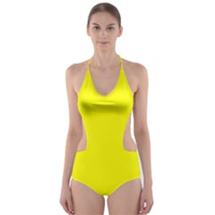 Beautiful Yellow Cut-Out One Piece Swimsuit