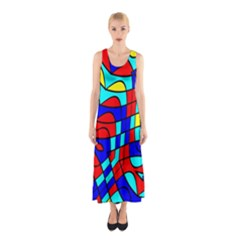 Colorful bent shapes Full Print Maxi Dress
