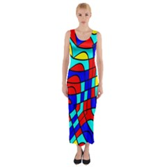 Colorful bent shapes Fitted Maxi Dress