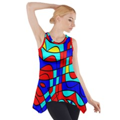 Colorful Bent Shapes Side Drop Tank Tunic