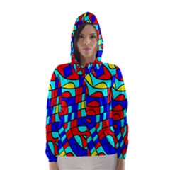 Colorful bent shapes Hooded Wind Breaker (Women)