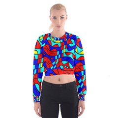 Colorful bent shapes   Women s Cropped Sweatshirt