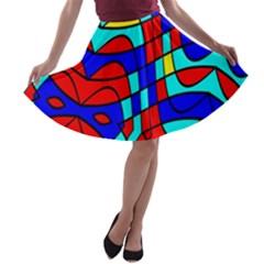 Colorful Bent Shapes A Line Skater Skirt